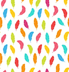 Seamless Pattern of Multicolored Feathers vector image vector image
