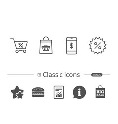 Shopping cart discount and smartphone icons vector