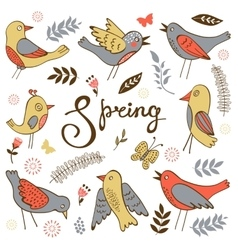 Spring collection with birds flowers and twigs vector image vector image