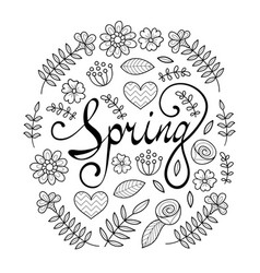 Spring lettering in floral pattern round frame vector