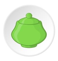 Sugar bowl icon cartoon style vector