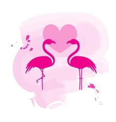 Two flamingos in love vector image vector image
