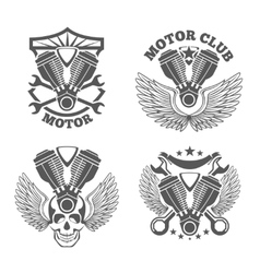Vintage motorcycle labels badges motorbike vector