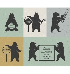 Vintage of bear vector