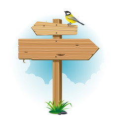 wooden signs with leaf and bird vector image vector image