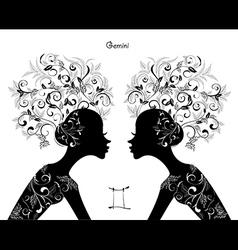 Zodiac sign gemini fashion girl vector image vector image