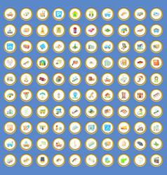 100 city elements icons set cartoon vector image vector image