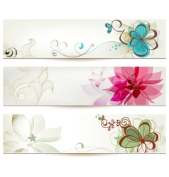 Floral banners in retro style vector image