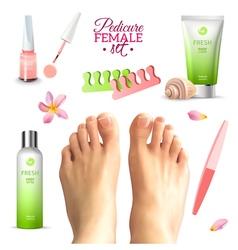 Pedicure Female Feet Set vector image