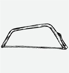 Metallic hacksaw with handle vector