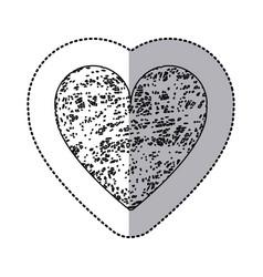 sticker monochrome of icon heart hand drawn vector image