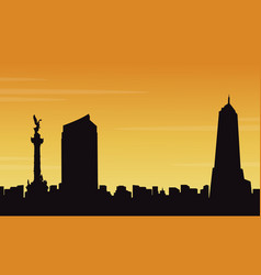 silhouette of mexico city style collection vector image