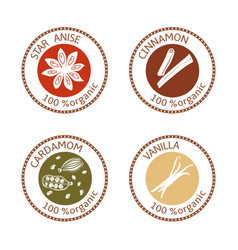 Set of flat spices stamp labels 100 organic vector