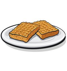 Baked homemade waffles vector