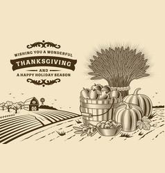 vintage thanksgiving landscape brown vector image