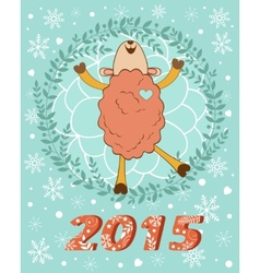 2015 card with cutehappy sheep vector image vector image