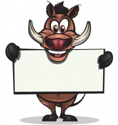 Cute warthog holding sign vector