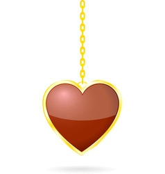 Heart with golden chain vector