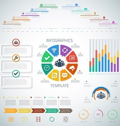 Huge timeline infographics set with diograms pie vector