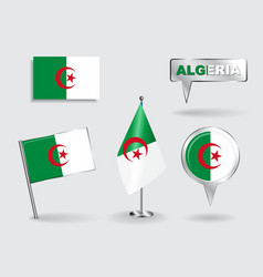 Set of Algerian pin icon and map pointer flags vector image