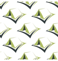 Camp green tents seamless pattern vector