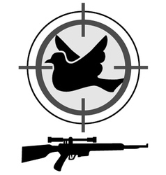 Hunt bird symbol vector