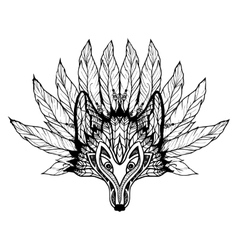 Doodle wolf mask vector