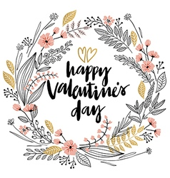 Valentines day wreath vector