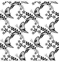 Pattern with butterflies flowers and branches vector
