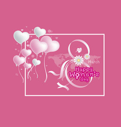 8 march happy womens day design on pink background vector