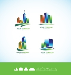 Real estate building 3d logo icon set vector