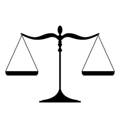 Justice scales silhouette - balanced isolated on vector