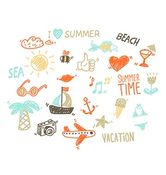 Collection of summer elements in sketch style vector
