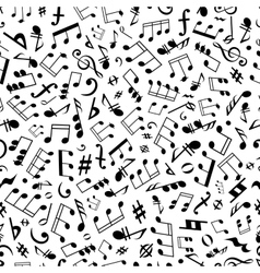 Seamless music notes and marks background pattern vector image