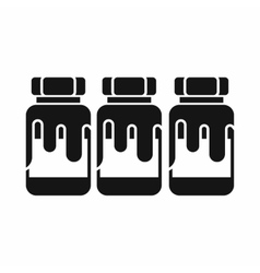 Three plastic jars with gouache icon vector