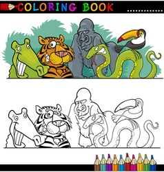 Wild jungle animals for coloring vector