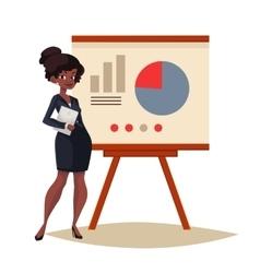 Businesswoman giving presentation using a board vector