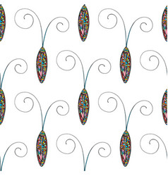 Abstract stylized cockroaches pattern hand drawn vector