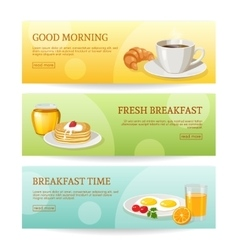 Breakfast Time Banners Set vector image