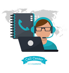Call center man operator contacts laptop vector