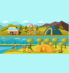 Colorful camping horizontal banners vector
