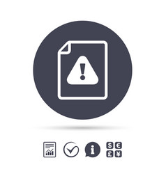File attention sign icon exclamation mark vector