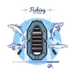 Fishing Icons Round Composition vector image vector image