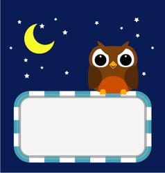 Frame with owl moon and stars vector image