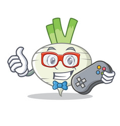 Gamer turnip mascot cartoon style vector