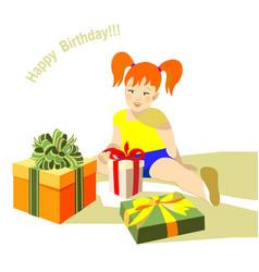 Girl sitting happy birhday present box vector