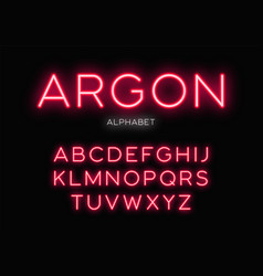 glowing neon typeface design alphabet vector image