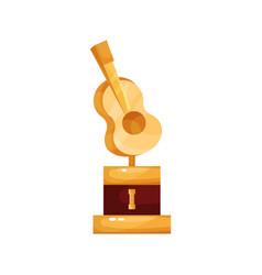 golden statuette with guitar music award cartoon vector image vector image