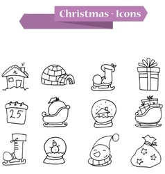 Hand draw christmas icons theme vector
