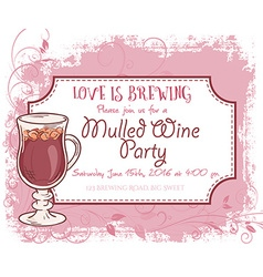 Hand drawn mulled wine party invitation card vector